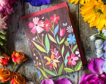 Kraft Flowers - Birthday Card