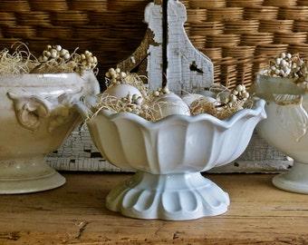 Lovely Antique White Ironstone Pedestal Bowl