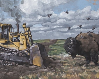 "Original Oil Painting, Contemporary Political Art, Landscape Painting, Imaginative Realism, Climate Change, DAPL - ""Buffalo vs. Bulldozer"""