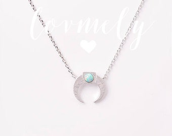 OPAL STONE crescent necklace