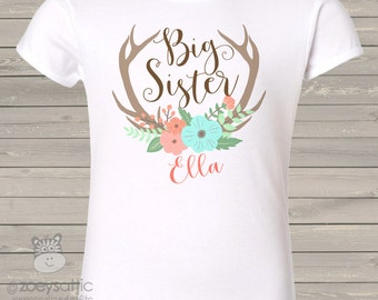 Antlers Big Sister personalized shirt - perfect for the big sister to be - BSDDA