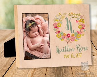 personalized wood custom frame - or wood panel print - custom colors birth announcement new baby gift wood panel FBP-001