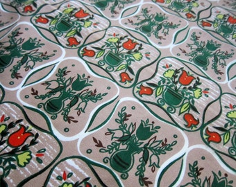 Vintage Midcentury Fabric, 1 Yard of Vintage Cotton Floral Fabric by Quincy - Handprint, Tan with Dark Green, Red/Orange, and Yellow/Green
