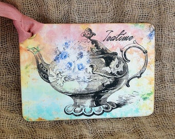Vintage Style Tea Time Teapot Gift or Scrapbook Tags or Magnet #463