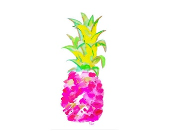 Watercolor Pink Pineapple Art Print-Tropical Pineapple-Pineapple Wall Art- Fruit Print-Wall Decor-Fine Art- Home Decor-Tropical Art