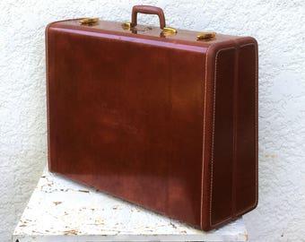 Classic Vintage Samsonite Suitcase- Large Suitcase - Oxblood, Mauve Silky Lining, Model 4936, Vintage Luggage