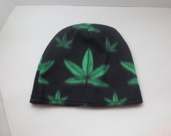 Cannabis Leaf Hat - Stoner Hat - 420 Hats - Fleece hat - One love - Shop Special