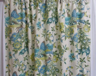 "Aqua Mist Bird Curtains, Chartreuse Bird Window Curtains, Bird Home Decor, Elegant Floral Drapes, Custom Rod Pocket Panels, One Pair 50""W"