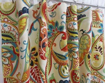 Coral Boho Curtains Bohemian Drapes Modern Paisley Window