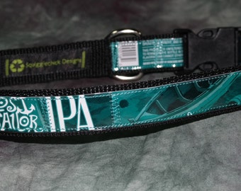 Adjustable Dog Collar from recycled Berkshire Brewing Co Lost Sailor IPA Beer Labels