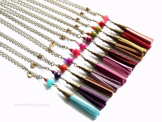 Colorful boho tassel necklaces, Tassel necklace, Long tassel necklace, Boho necklace, Colorful boho necklace, Boho jewelry