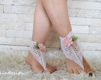Wedding Beach white bridal footwear sandal, pearl beaded, cotton lace, pink satin, Brautsandalen, Sandales de mariée, sandali spiaggia sposa