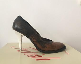 A.f. Vandevorst shoes polished black dirty nurse upcycled