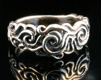Wave Ring Silver Band Flame Ring Wedding Band Commitment Jewelry Swirl Jewelry Silver Whirls Silver Band Ring Cosmos Ring