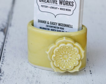 yellow business card holder