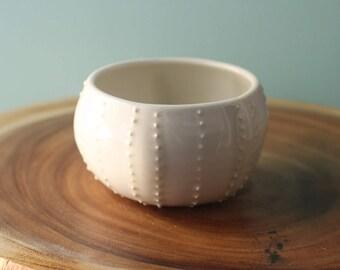 white sea urchin bowl, porcelain