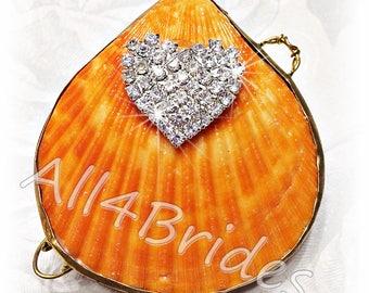 Beach wedding ring bearer seashell ring box,  orange clam ring box, proposal ring box