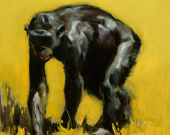 "Original Oil Painting - ""Ape"" Animal Wildlife Art"