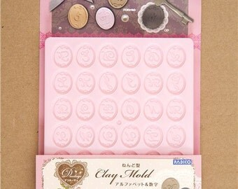 168479 mold for clay alphabet and numbers seal Japan