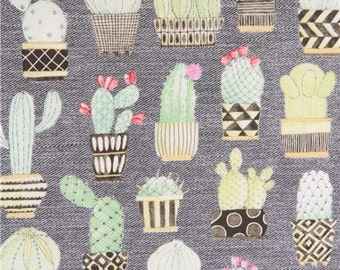 212971 grey Michael Miller fabric green cactus plant Cactus Hoedown