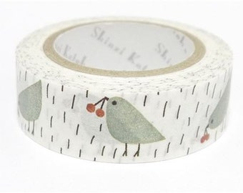 210706 white with rain bird Washi Masking Tape deco tape Shinzi Katoh