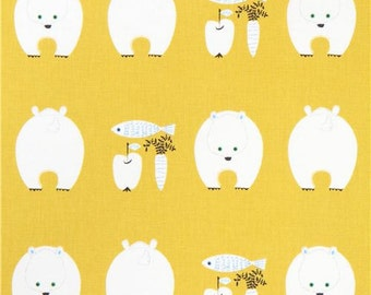 213716 mustard yellow with white polar bear Canvas fabric from Japan