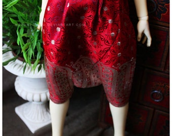 ABJD Dollfie CP Delf sized Vintage Fabric red and gold Dhoti style pants