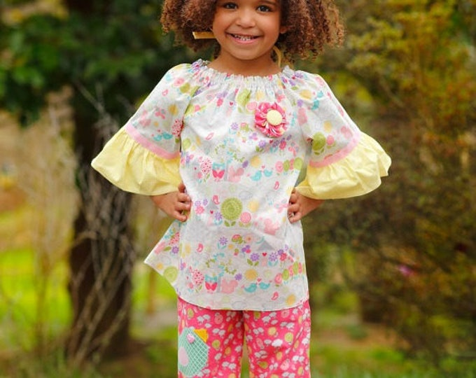 Little Girl Ruffle Pants Outfit - Toddler Girl Clothes - Easter Outfit - Girls Peasant Top - Toddler Outfit - Boutique - sizes 2T to 8 yrs
