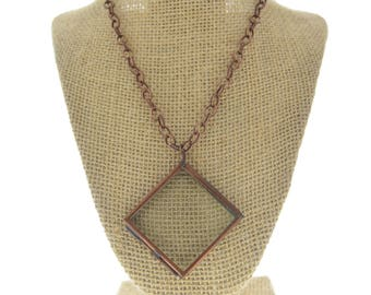 Locket Necklace diamon  antique copper square -Our Glass Frame Pendant, with chain , sold by each