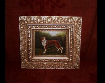 DOG OIL PAINTING Framed Fine Art Vintage Man's Best Friend Brown White