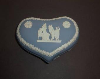 Antique Wedgwood Heart Box Blue White Jasper Ware