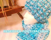 RESERVED FOR LISALUBIN. Turquoise Blue and White Scarf and Hat Set. Custom Order.