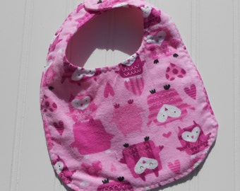 READY TO SHIP 100% cotton flannel baby bib - pink owl print