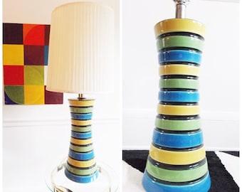 Xlarge 1960s multi color stripe ceramic lamp / 60s 70s ceramic floor lamp / mid century lamp Raymor