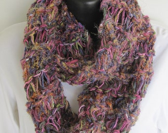 SUPER SALE  Hand Knit Infinity Scarf Multi Color Raspberry Rose Purple Lavender Mauve Pink Green Blue Heather Soft Cowl Neck warmer Fuzzy