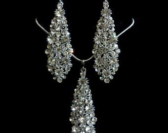 Statement Bridal Jewelry Set, Art Deco Wedding Earrings, Crystal Bridal Necklace, Swarovski Bridal Earrings, Silver Wedding Jewelry, NECKTIE
