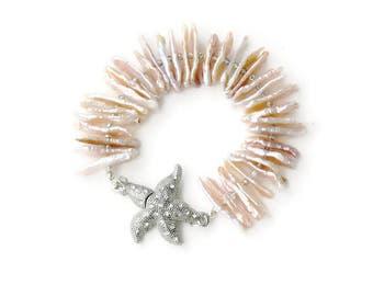 Biwa Pearl and Crystal Bracelet - Starfish Pearl Bracelet - Pave Starfish Cuff Bracelet -Pearl Bracelet - Stick Pearls - Cuff pearl bracelet