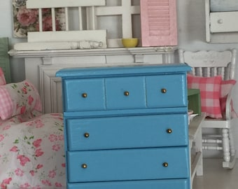 Miniature Dollhouse Ocean Blue Chest of Drawers-1:12 scale