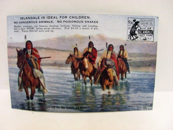 Indian Islandale Vintage Trade Card, Antique Real Estate Native American Theme, 1900's Postcard