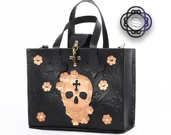 Black leather tote bag, gold skull tote bag for women, black leather shopper bag, black leather shoulder bag, skull and roses, sugar skull