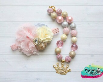chunky necklace or baby headband set {Blushing Beauty } gold, pink, crown necklace headband, 1st Birthday, photography prop