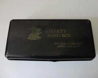 VINTAGE black lock BOX with advertising - missing key