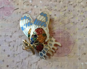 Cloisonné Butterfly Brooch Pin insect moth jewelry enamel mid century mod 1960s