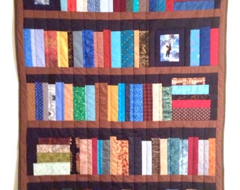 "5 shelf Bookcase quilt, library quilt, book lovers quilt, wall hanging, lap quilt, 41""x55"""