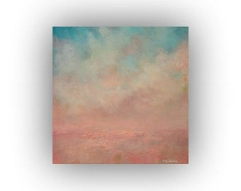 Small Abstract Landscape- 12 x 12 Peach and Blue Sky Clouds and Field Oil Painting- Original Palette Knife Art on Canvas