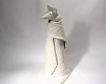 White Coyote Jar Storybook Anthropomorphic Art Sculpture Vessel Ceramic Animal Bottle
