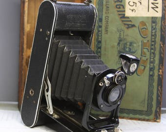 Vintage CAMERA- Contessa Nettel- Antique Film Camera- Industrial Black-Lens Photography- German Camera- K26