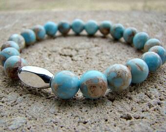 Blue Jasper Beaded Gemstone Stretch Bracelet,  Silver Bead Bracelet, Stacking Bracelet, Beaded Bracelet, Women's Bead Bracelet, Spring