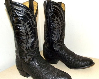 ON SALE Rockabilly style Black Leather Western cowboy boots Tony Lama brand size 10 B
