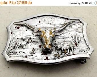 Vintage Lytone Belt Buckle - western wear - steer horns - cattle - Leavens